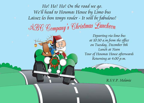 SANTA ON THE ROAD AGAIN CUSTOM INVITATION