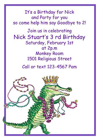 ALLIGATOR WITH MARDI GRAS BEADS CUSTOM INVITATION