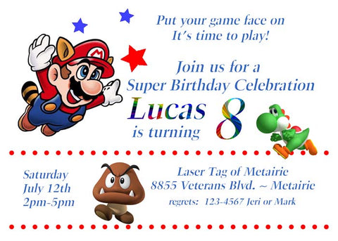 SUPER MARIO GAME PLAYER CUSTOM INVITATION