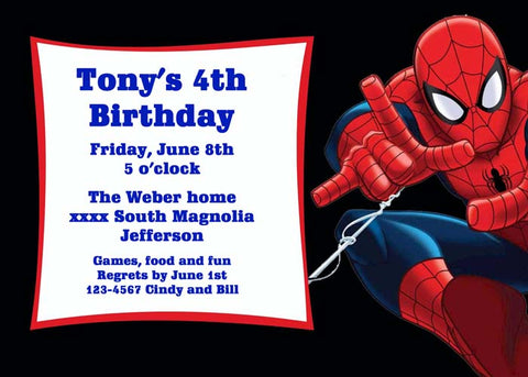 SPIDER MAN READY TO SPIN HIS WEB CUSTOM INVITATION