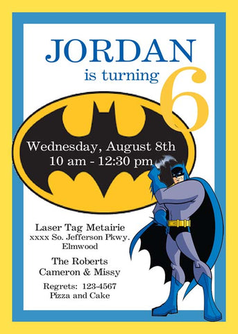BATMAN SYMBOL CUSTOM INVITATION