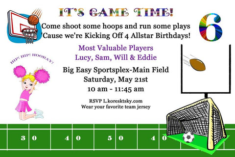 ALL SPORTS BOYS AND GIRLS CUSTOM INVITATION
