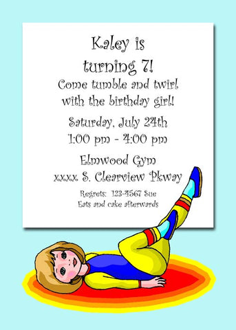 GIRL PERFORMING GYMNASTIC POSES CUSTOM INVITATION