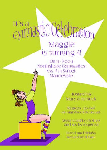 GIRL GYMNASTIC STAR CUSTOM INVITATION