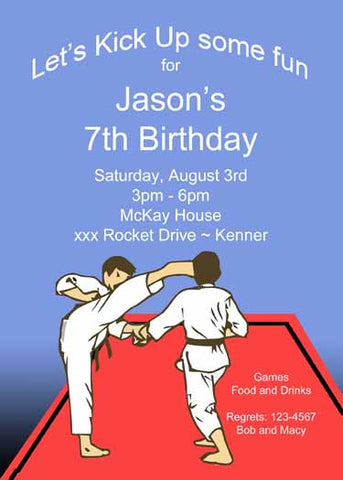 KARATE BOYS CUSTOM INVITATION