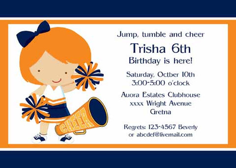 LITTLE GIRL CHEERLEADER CUSTOM INVITATION