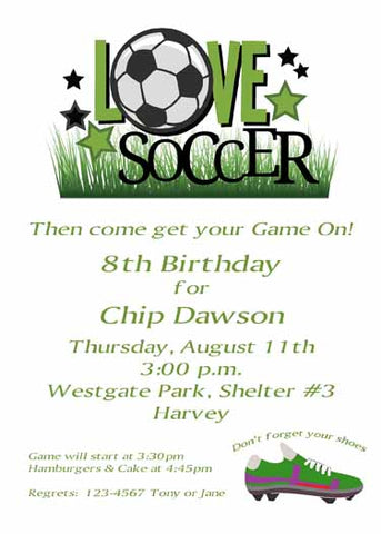 LOVE SOCCER CUSTOM INVITATION