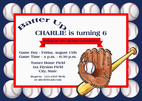 LOTS OF BASEBALLS CUSTOM INVITATION