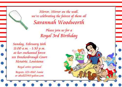 SNOW WHITE AND THE DWARFS CUSTOM INVITATION