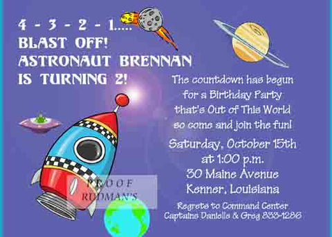SPACE ROCKET 2 CUSTOM INVITATION