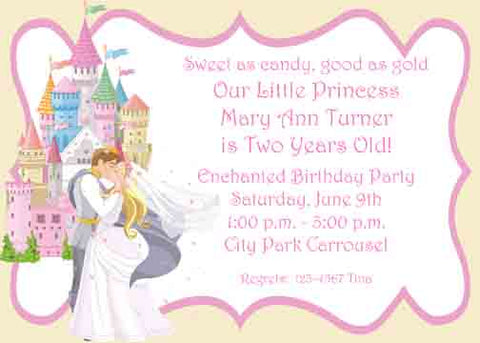 PRINCE, PRINCESS AND CASTLE CUSTOM INVITATION