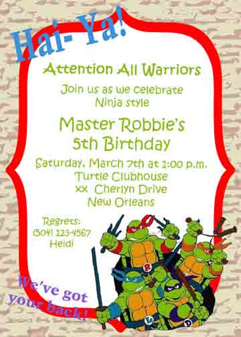 NINJA TURTLES CUSTOM INVITATION