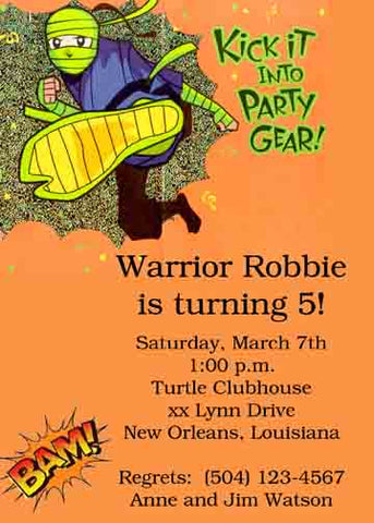 NINJA WARRIOR CUSTOM INVITATION