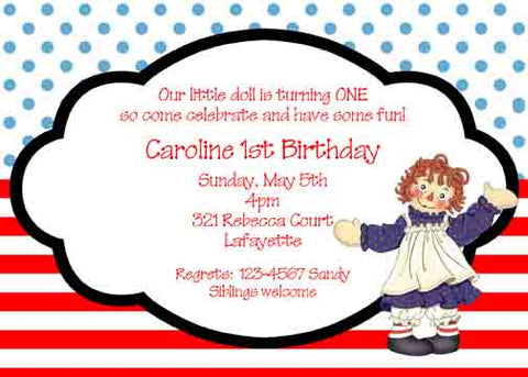 RAGGEDY ANN CUSTOM INVITATION