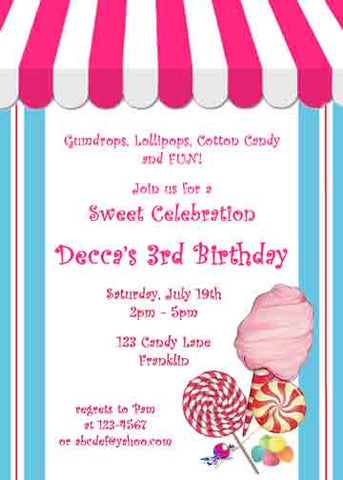 CANDY SHOP CUSTOM INVITATION