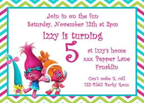 TROLLS ON CHEVRON BORDER CUSTOM INVITATION