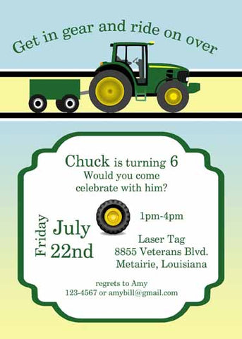 GREEN TRACTOR CUSTOM INVITATION