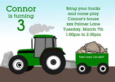 TRACTOR WITH TRAILER OF ROCKS CUSTOM INVITATION