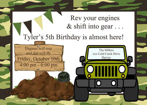 MILITARY JEEP CAMO CUSTOM INVITATION