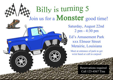 MONSTER TRUCK BLUE CUSTOM INVITATION