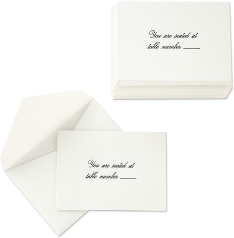 CRANE PEARL WHITE KID FINISH TABLE CARDS
