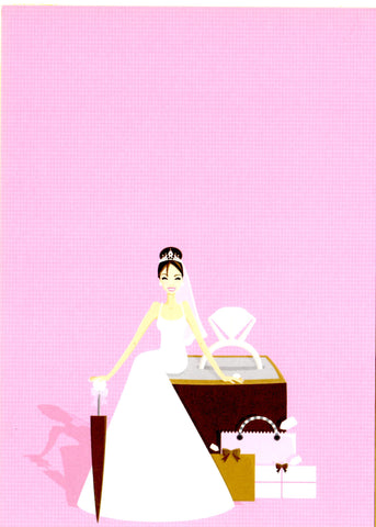 BRUNETTE BRIDE WITH RING - BLANK STOCK INVITATION