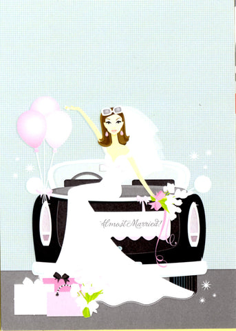 BRUNETTE BRIDE IN CAR - BLANK STOCK INVITATION