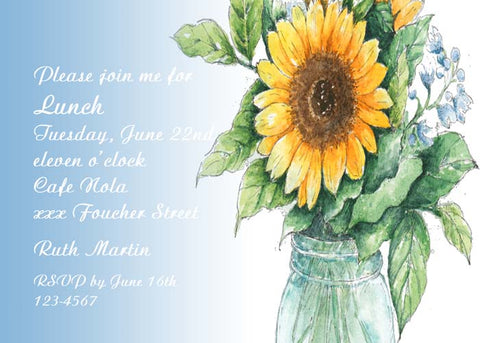 SUMMER SUNFLOWER CUSTOM INVITATION