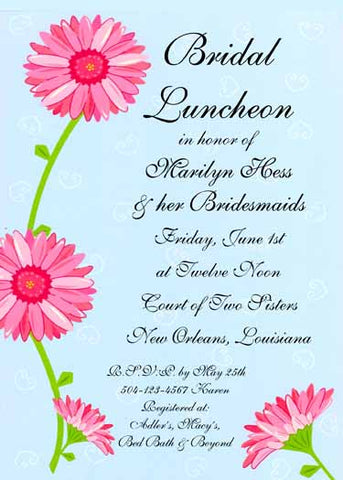 PINK DAISY FLOWERS CUSTOM INVITATION