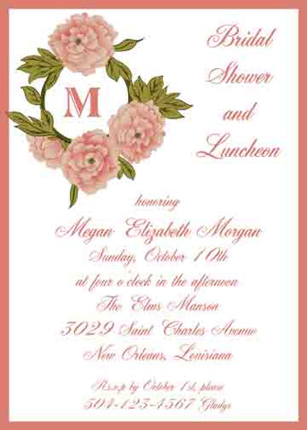 PEACHY ROSES AND MONOGRAM CUSTOM INVITATION