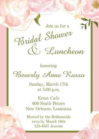 PEACH-PINK 4 CORNER ROSES CUSTOM INVITATION
