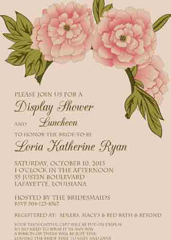 LARGE VARIEGATED PINK ROSES CUSTOM INVITATION