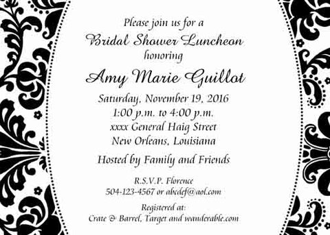 DAMASK BORDER CUSTOM INVITATION