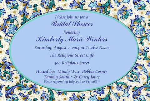 PAISLEY FLORAL BACKGROUND CUSTOM INVITATION