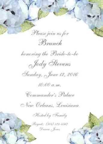 BLUE PEONIES CUSTOM INVITATION