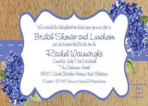 DARK BLUE HYDRANGEAS CUSTOM INVITATION