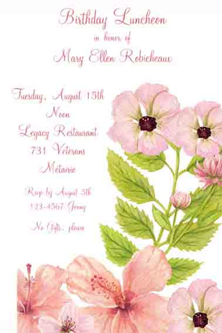 PINK-PEACH HIBISCUS CUSTOM INVITATION