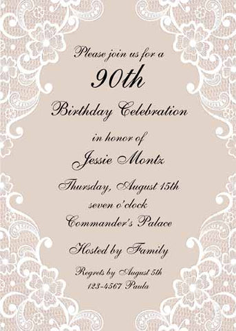 WEDDING LACE FLORAL CUSTOM INVITATION