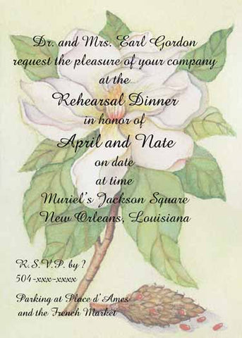 MAGNOLIA BRANCH CUSTOM INVITATION
