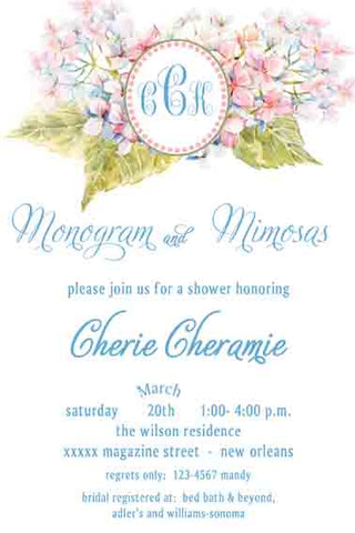 HYDRANGEA MONOGRAM CUSTOM INVITATION