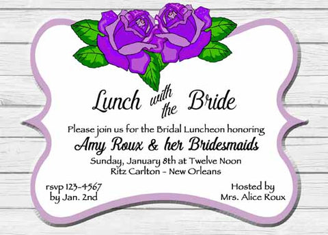 PURPLE ROSES AND WOOD CUSTOM INVITATION