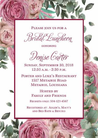 FULL ROSES IN PINK AND BURGUNDY CUSTOM INVITATION