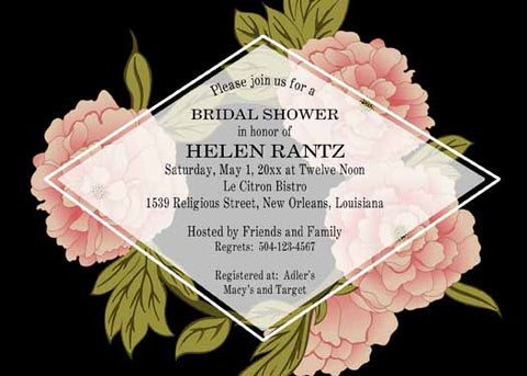 PEONIES WITH FADE OUT CUSTOM INVITATION