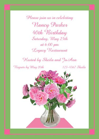 VASE OF PINK ROSES CUSTOM INVITATION