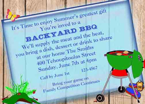 BACKYARD GRILL CUSTOM INVITATION