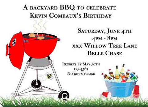 BBQ PIT AND BUCKET OF DRINKS CUSTOM INVITATION