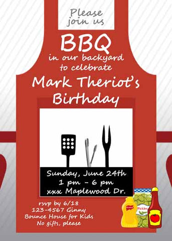 BBQ APRON CUSTOM INVITATION