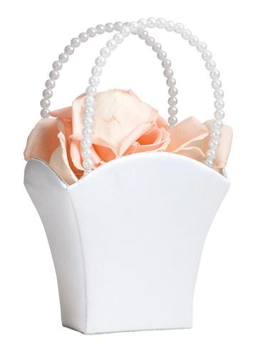 SATIN WHITE FLOWER BASKET