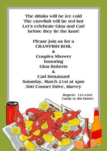 NEWSPAPER CRAWFISH CUSTOM INVITATION