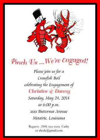BRIDE & GROOM CRAWFISH CUSTOM INVITATION